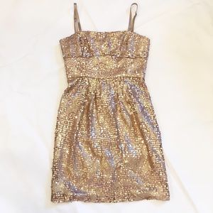 BCBG tan/ soft brown sequins mini dress.